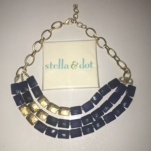 STELLA & DOT gold and navy statement necklace